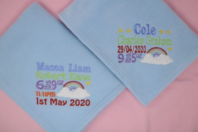 Personalised Rainbow baby fleece blanket name date weight and time choose colour